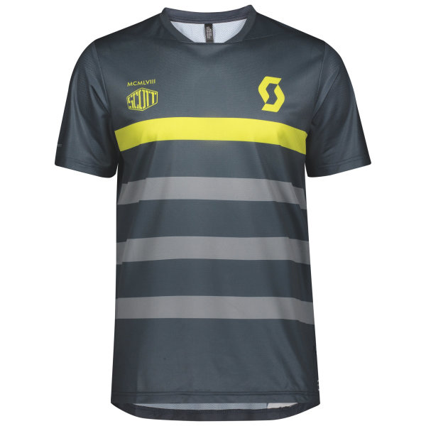 Scott Trail Flow Pro Shirt s/sl nightfall blue/lemongrass yellow